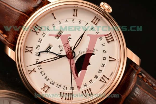 BlancPain Villeret 9015 Auto White Dial with Rose Gold Case 6654 (ZF)