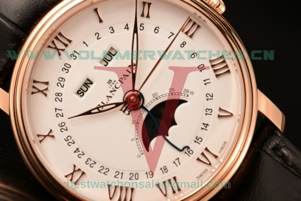 BlancPain Villeret 9015 Auto White Dial with 6654 Rose Gold Case (ZF)