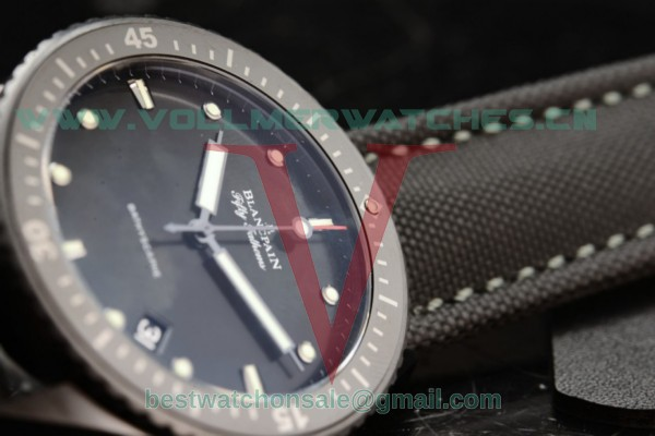 1:1 BlancPain Fifty Fathoms Bathyscaphe Miyota 9015 Auto Black Dial With PVD Case 5000-1110-B52A (GF)