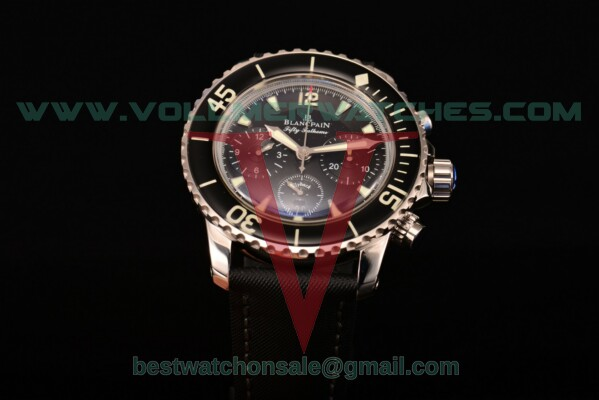 Blancpain Fifty Fathoms Chrono Valjoux 7750 Auto Black Dial with Steel Case 5085F-1130-52