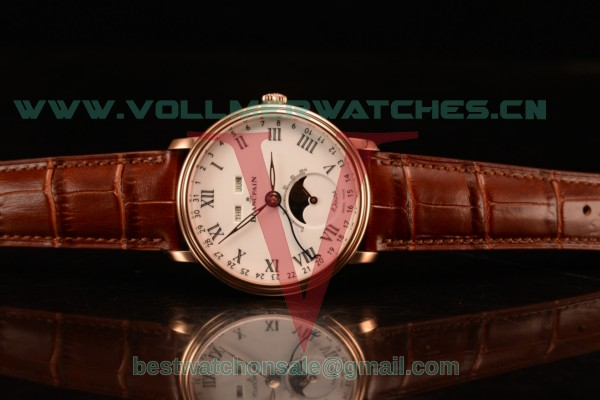 BlancPain Villeret Miyota 9015 Automatic Rose Gold Case with White Dial Roman and Brown Leather Strap 6106-3642-55a
