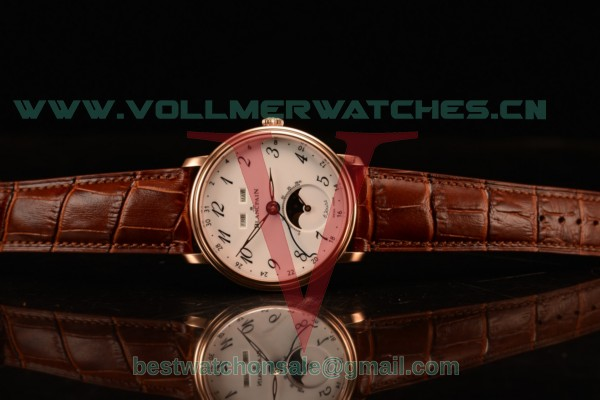 BlancPain Villeret Miyota 9015 Automatic Rose Gold Case with White Dial Arabic and Brown Leather Strap 6639a-3631-55b
