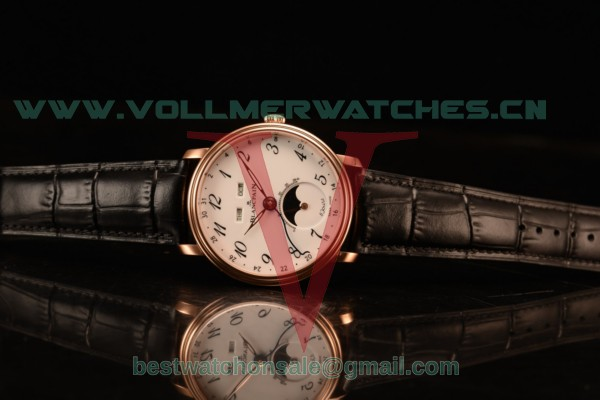 BlancPain Villeret Miyota 9015 Automatic Rose Gold Case with White Dial Arabic and Black Leather Strap 6639a-3631-55b