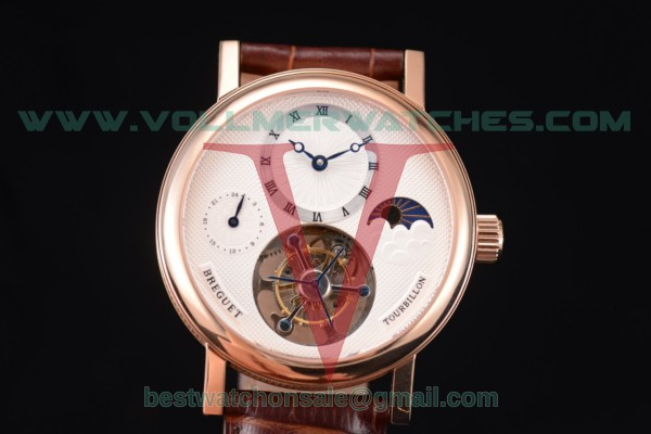 Breguet Grand Complication Moon Phase Tourbillon Swiss Tourbillon Manual Winding White Dial With Rose Gold Case 5318