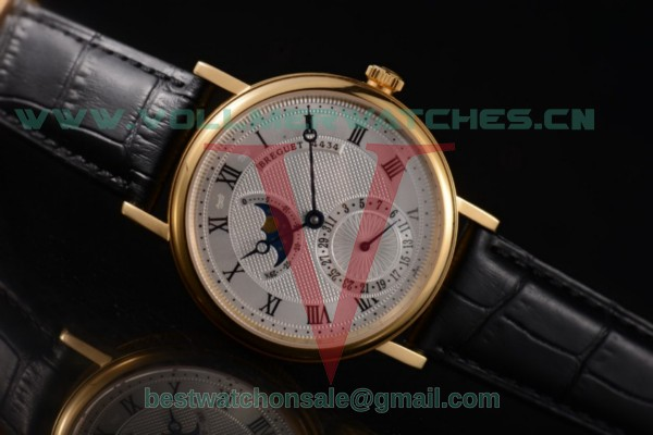 Breguet Classique Moonphase Miyota 9015 Auto Silver Dial With Yellow Gold Case 7137YG (EF)