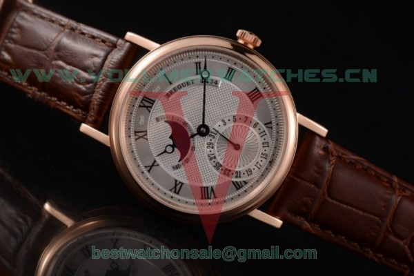 Breguet Classique Moonphase Miyota 9015 Auto Silver Dial With Rose Gold Case 7137RG