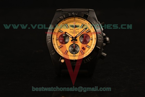 Breitling Chronomat B01 44 Blacksteel Chrono 7750 Auto Yellow Dial with PVD Case MB0111C3/I531-262S