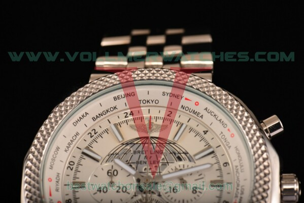 Breitling Bentley B05 Unitime Chrono Miyota OS20 Quartz White Dial with Steel Case AB0521U0.A755.990A