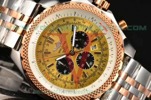 Breitling Bentley Motors Chrono Miyota OS20 Quartz Yellow Dial With Steel Case C2536412