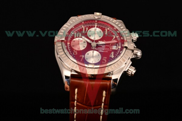 Breitling Chronomat Evolution Chrono Valjoux 7750 Auto Red Dial with Steel Case A1335653/B821 (BP)