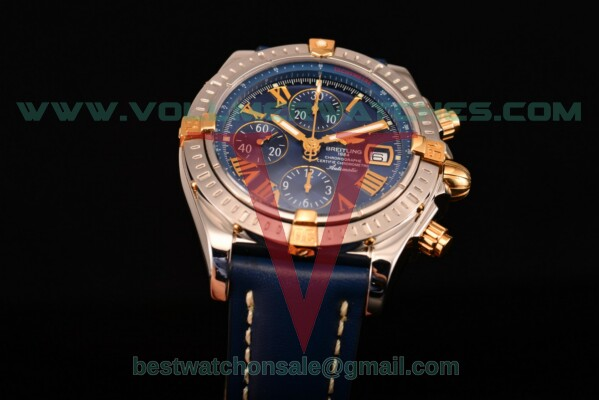 Breitling Chronomat Evolution Chrono Valjoux 7750 Auto Blue Dial with Steel Case A1335653/B9241 (BP)