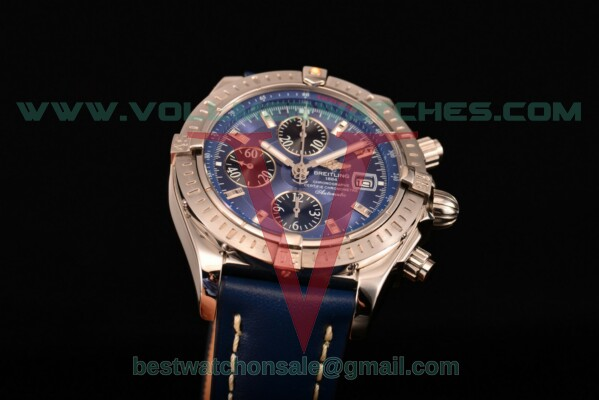 Breitling Chronomat Evolution Chrono Valjoux 7750 Auto Blue Dial with Steel Case A1335653/B824 (BP)