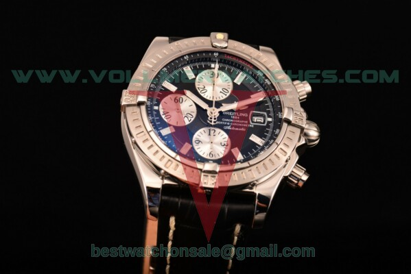 Breitling Chronomat Evolution Chrono Valjoux 7750 Auto Black Dial with Steel Case A1335653/B8253 (BP)