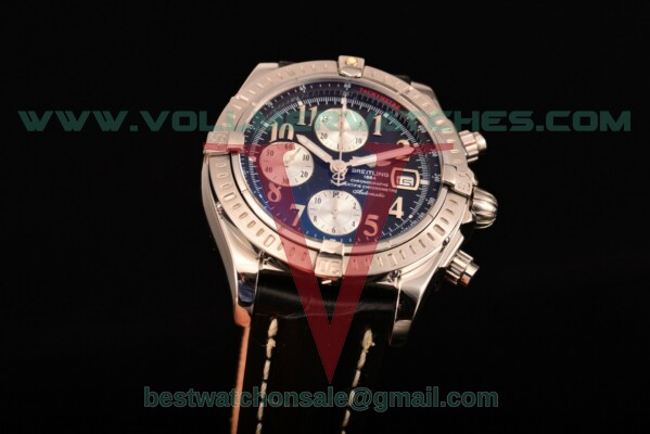 Breitling Chronomat Evolution Chrono Valjoux 7750 Auto Black Dial with Steel Case A1335653/B826 (BP)