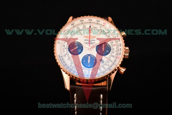 Breitling Navitimer 01 Chrono 7750 Auto White Dial with Rose Gold Case rb012012/wh49-1ct (JF)