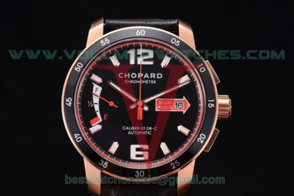 Chopard Mille Miglia GTS Power Control Chrono Miyota OS2035 Quartz Black Dial with Rose Gold Case 161296-5002.RED