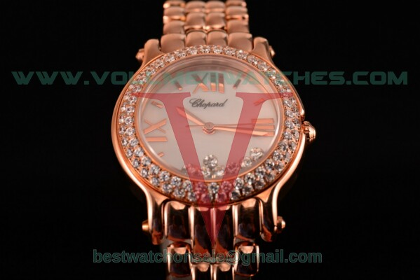 Chopard Happy Sport ETA Quartz White MOP Dial with Rose Gold Case 277481-5002