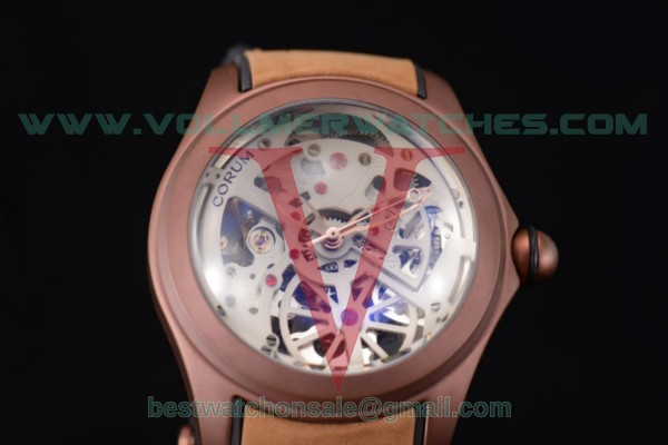 Corum Bubble Skeleton 3001 Auto Skeleton Dial with Brown PVD Case 082.130.20.pwht