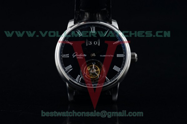 Glashutte Senator Meissen Tourbillon Swiss Tourbillon Auto Black Dial with Steel Case 94-03-04-04-04
