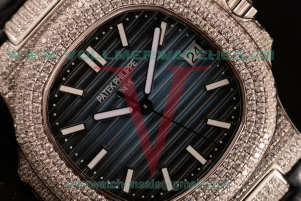 Patek Philippe Nautilus 9015 Auto Blue Dial Diamond Bezel with Steel Case 3700/1ALD