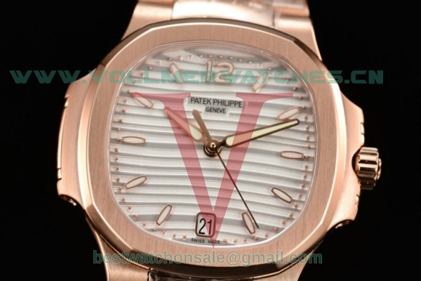 Patek Philippe Nautilus Miyota 9015 Auto White Dial with Rose Gold Case 7010/1R-001