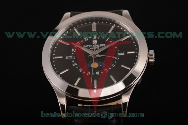 Patek Philippe Grand Complications Perpetual Calendar Miyota Quartz Black Dial with Steel Case 5397 blk
