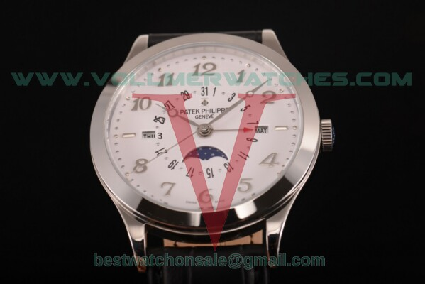 Patek Philippe Grand Complications Perpetual Calendar Miyota Quartz White Dial with Steel Case 5398 wht