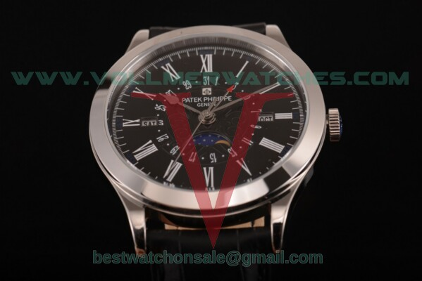 Patek Philippe Grand Complications Perpetual Calendar Miyota Quartz Black Dial with Steel Case 5399 blk