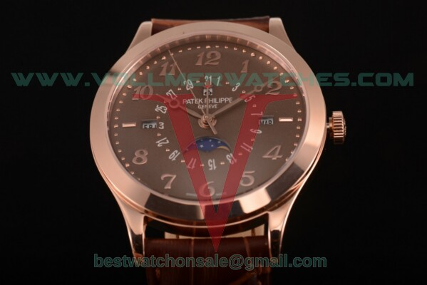 Patek Philippe Grand Complications Perpetual Calendar Miyota Quartz Brown Dial with Rose Gold Case 5400 brw