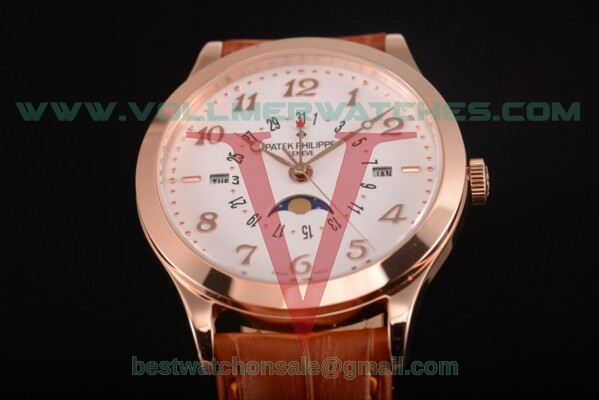 Patek Philippe Grand Complications Perpetual Calendar Miyota Quartz White Dial with Rose Gold Case 5400 wht