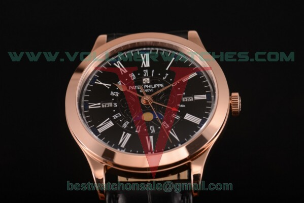 Patek Philippe Grand Complications Perpetual Calendar Miyota Quartz Black Dial with Rose Gold Case 5401 blk