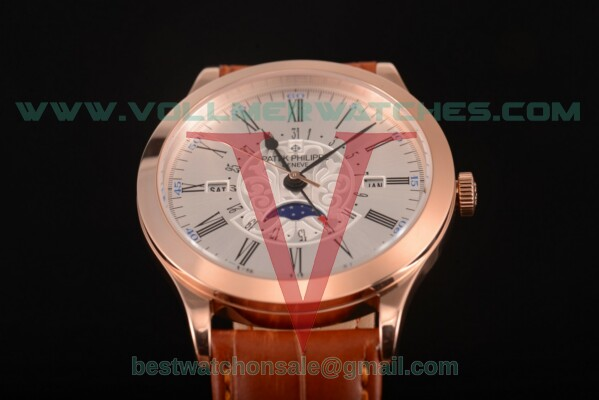 Patek Philippe Grand Complications Perpetual Calendar Miyota Quartz Silver Dial with Rose Gold Case 5401 gre