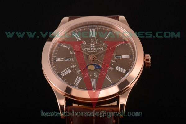 Patek Philippe Grand Complications Perpetual Calendar Miyota Quartz Brown Dial with Rose Gold Case 5401 brw