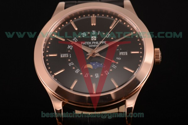 Patek Philippe Grand Complications Perpetual Calendar Miyota Quartz Black Dial with Rose Gold Case 5402 blk