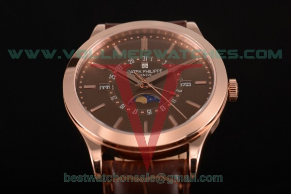 Patek Philippe Grand Complications Perpetual Calendar Miyota Quartz Brown Dial with Rose Gold Case 5402 brw