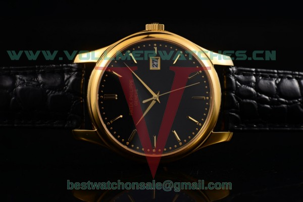 Patek Philippe Calatrava Japanese Quartz Black Dial with Yellow Gold Case 5227-JBB