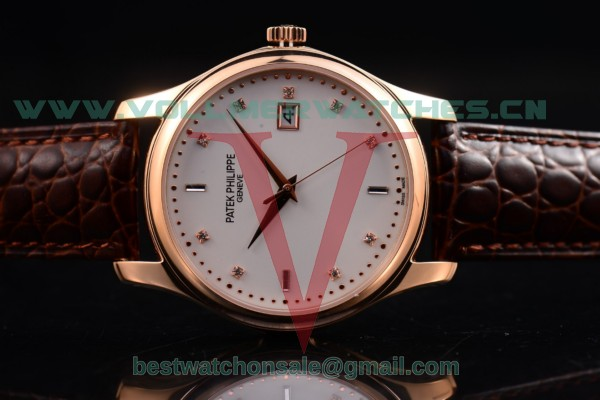 Patek Philippe Calatrava Japanese Quartz White Dial with Rose Gold Case 5108R-BB