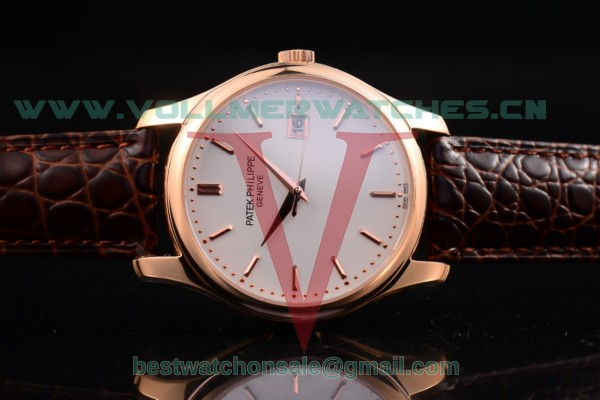 Patek Philippe Calatrava Japanese Quartz White Dial with Rose Gold Case 5227R-WR