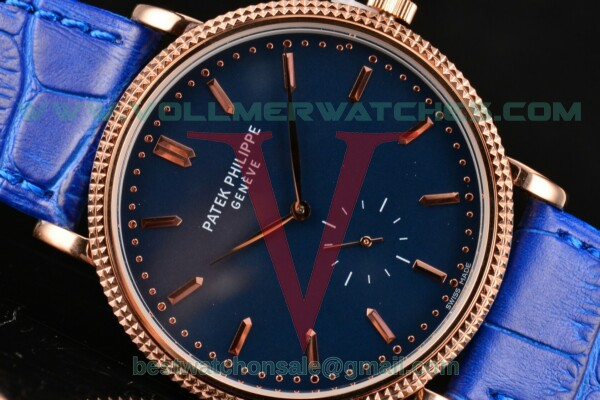 Patek Philippe Calatrava Miyota Quartz Blue Dial With Rose Gold Case 5117R-003