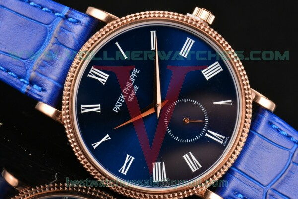 Patek Philippe Calatrava Miyota Quartz Blue Dial With Rose Gold Case 5116R-003