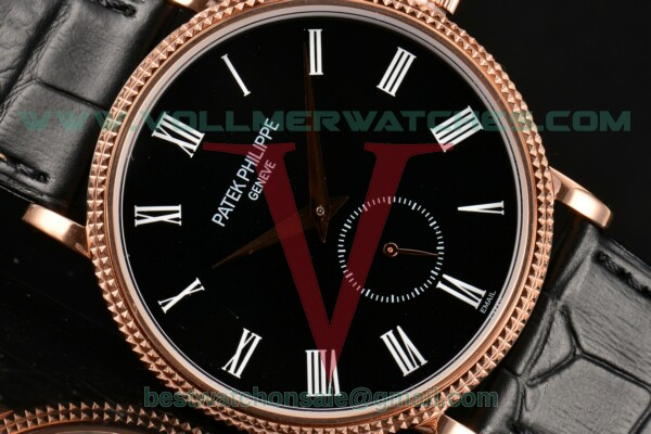 Patek Philippe Calatrava Miyota Quartz Black Dial With Rose Gold Case 5116R-002