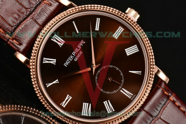 Patek Philippe Calatrava Miyota Quartz Brown Dial With Rose Gold Case 5116R-004