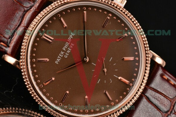 Patek Philippe Calatrava Miyota Quartz Brown Dial With Rose Gold Case 5117R-004