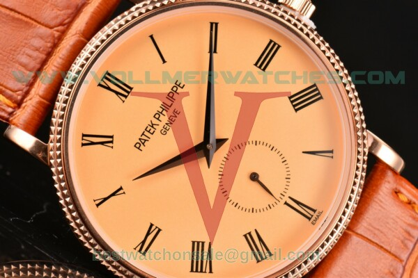Patek Philippe Calatrava Miyota Quartz Champagne Dial With Rose Gold Case 5116R-005