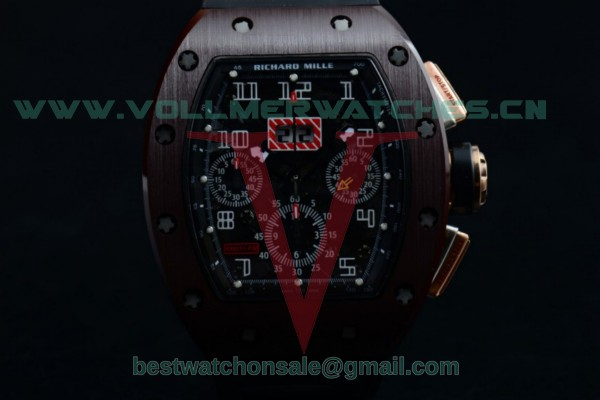 Richard Mille RM 011 Felipe Massa Chrono 7750 Auto Black Rubber Strap Skeleton Dial with PVD/Rose Gold Case RM 011