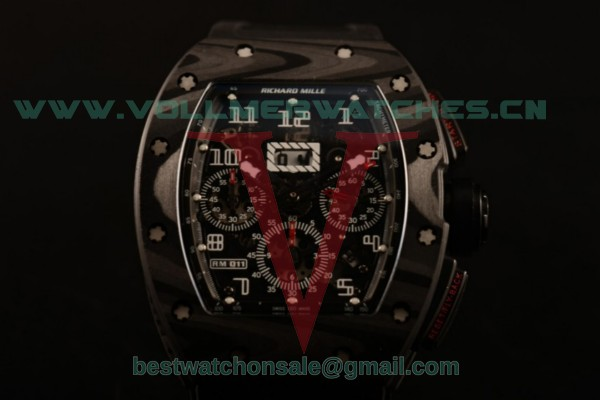 Richard Mille RM 011 Chrono 9015 Auto Black Dial with Carbon Fiber Case RM 011 (KV)