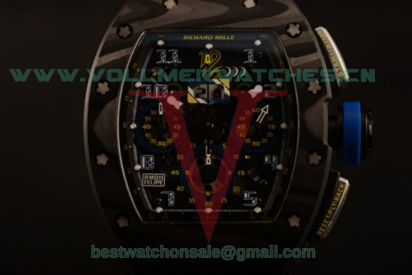 Richard Mille RM 011 Felipe Massa Chrono 9015 Auto Black Dial with Carbon Fiber Case RM 011 (KV)