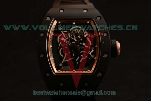 Richard Mille RM 055 Bubba Watson 9015 Auto Black Rubber Strap Black Dial with Ceramic Case RM 055