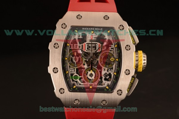Richard Mille RM11-03 Swiss Valjoux 7750 Auto Red Rubber Strap With Steel Case RM11-03 (KV)