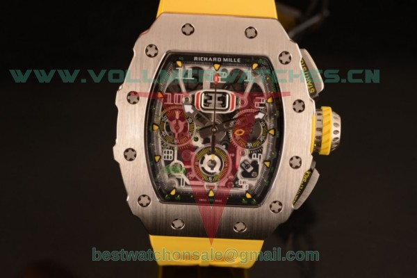 Richard Mille RM11-03 Swiss Valjoux 7750 Auto Yellow Rubber Strap With Steel Case RM11-03 (KV)